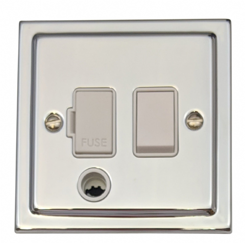 G&H TC56W Trimline Plate Polished Chrome 1 Gang Fused Spur 13A Switched & Flex Outlet